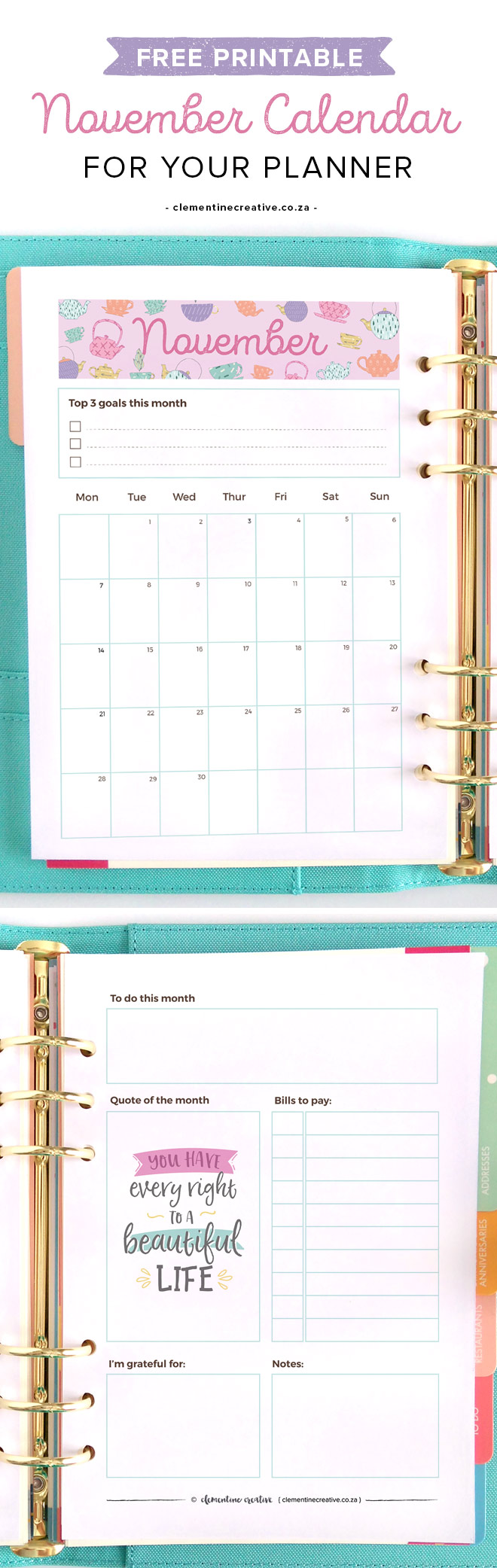 Calendar Za : Free printable november monthly planner