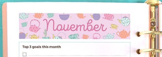Free Printable November 2016 Monthly Planner