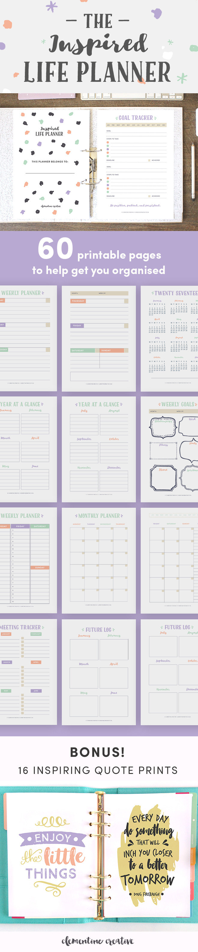 This printable life planner kit with 60 PDF pages will help you keep track of various areas in your life and as a result help you feel more organised and less stressed. Various planning pages are included: from goals, planning, and to-do lists to finance, health and fitness trackers. You can choose one of the following sizes: A4 / A5 / US Letter. You'll also get 16 inspiring quotes with your purchase! Click here to see more.