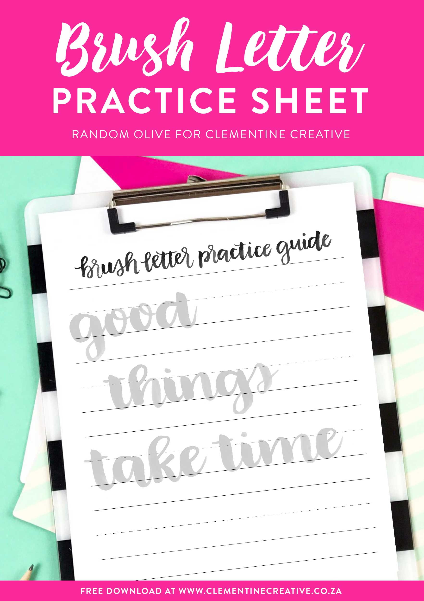 Free brush letter practice sheet by Random Olive. Use your brush pens, paint brushes or Tombow markers to practice your brush lettering! Click here to download this free sheet.