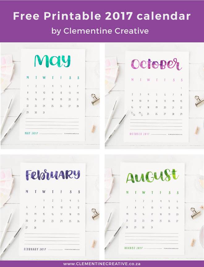 Need a 2017 calendar? Download this printable 2017 hand lettered calendar here. Each month prints out on one page and has a different colour.