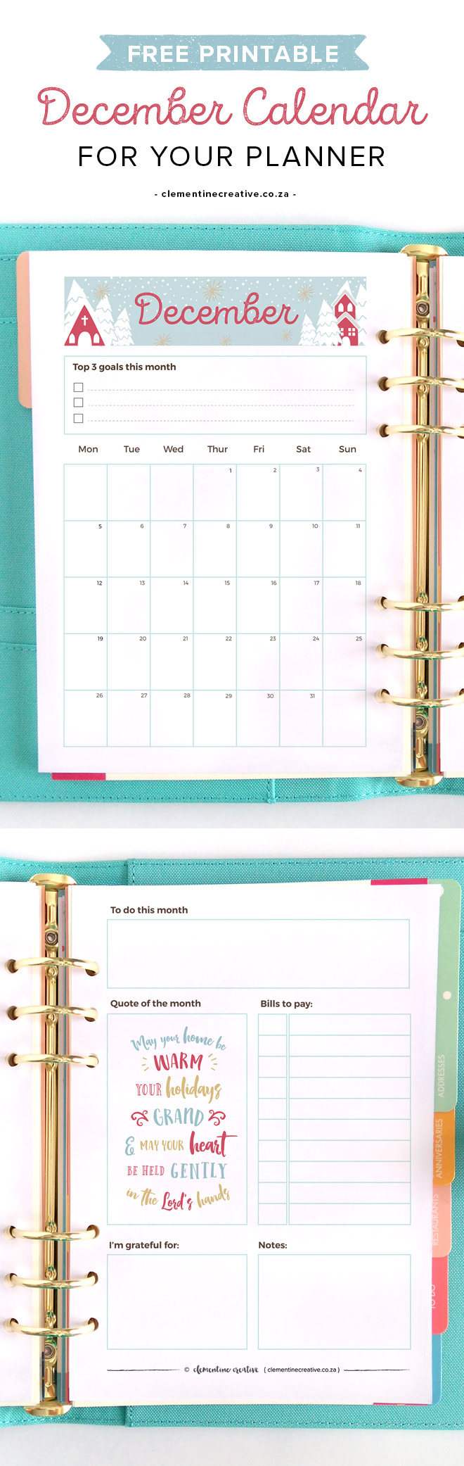 December 2016 Free Printable Monthly Planner
