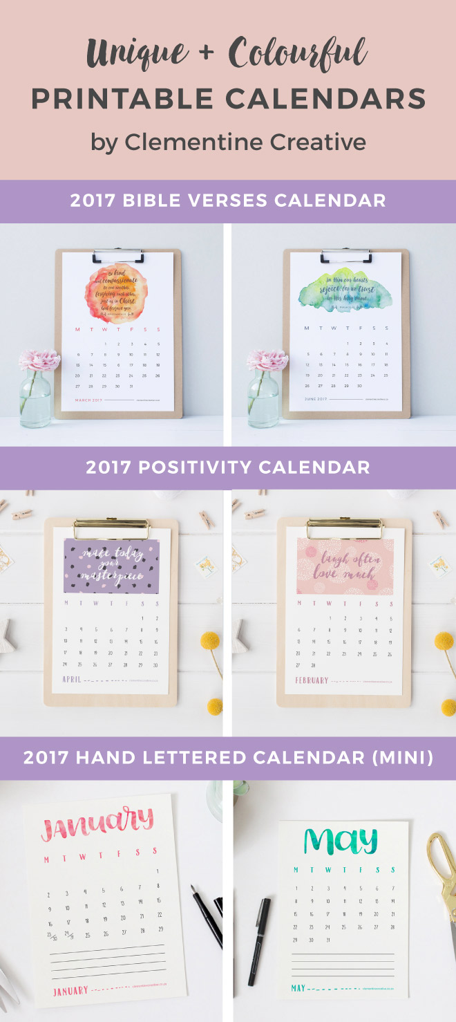 Find a variety of colourful and beautifully designed 2017 printable calendars from Clementine Creative. Available in normal and small sizes. Click here to see more.