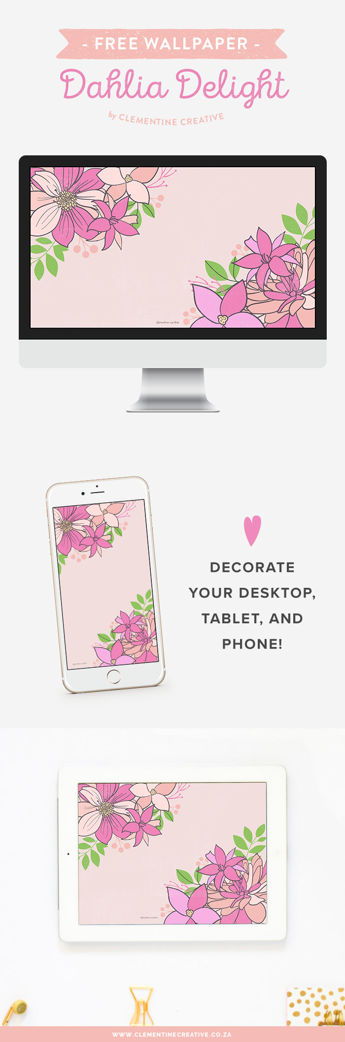 Freshen up your computer with this beautiful pink and peach dahlia wallpaper. Also available for your phone and tablet! Click here to download