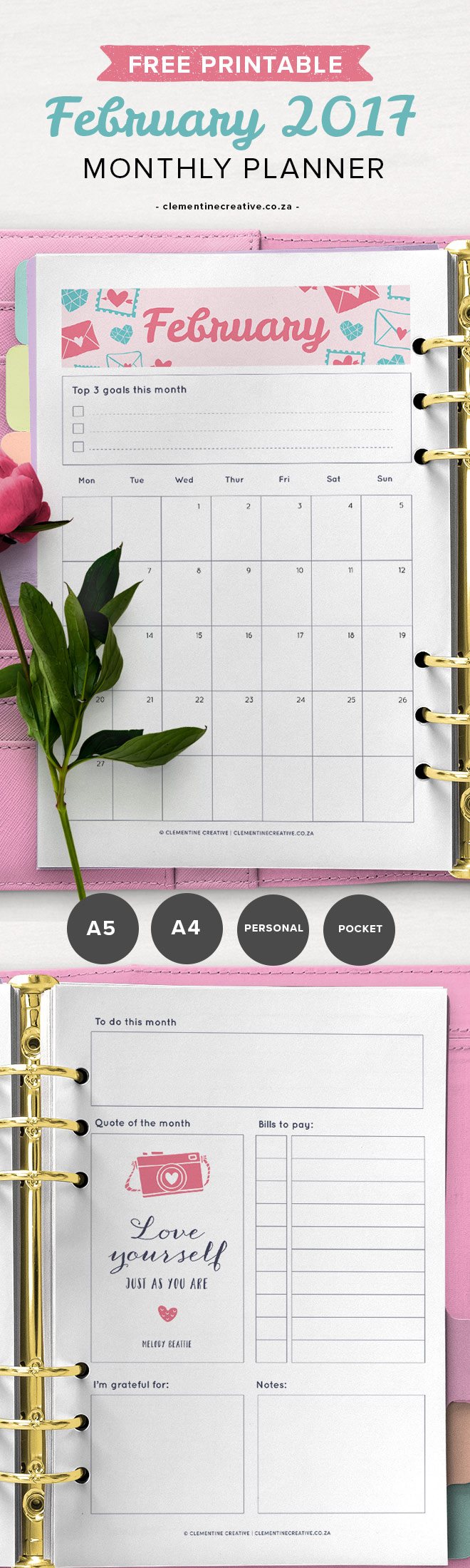 Get a new printable monthly planner template every month! It comes in A4, A5, Personal and Pocket sizes. Perfect for your binder. Download February's monthly planner here.