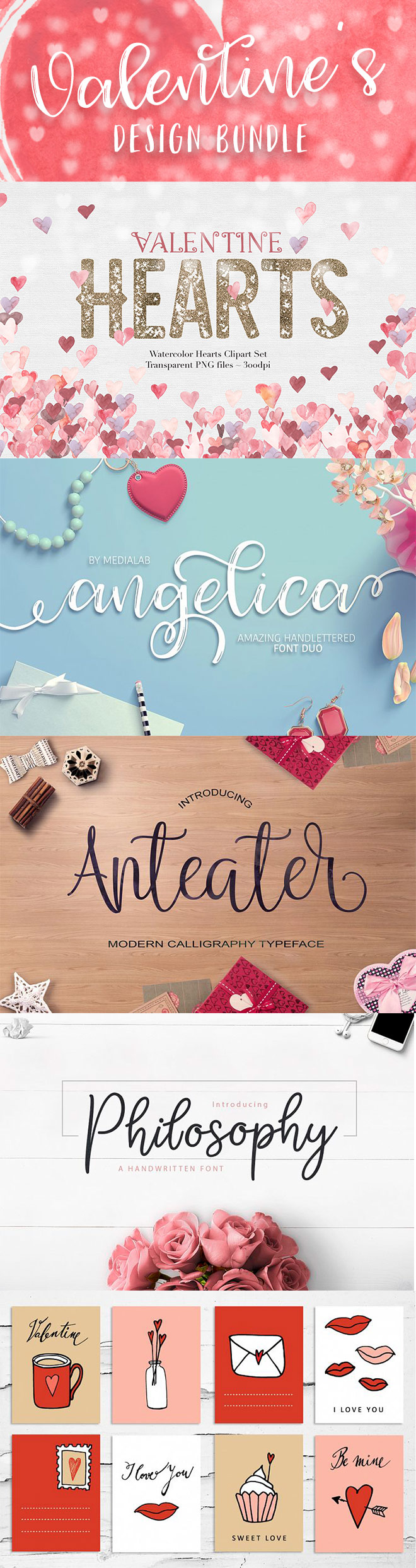 Design beautiful Valentine's Day invitations, coupons, gift cards, greeting cards and posters with this super gorgeous Valentine's Day bundle. It contains 21 Valentine's Day fonts and over 1000 design elements. Click here to see what's included!