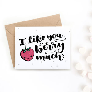 Surprise your valentine with this adorable hand-drawn Valentine's Day card. It says I like you berry much and was drawn in a cute style
