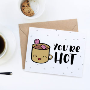 This cute printable Valentine's Day card with adorable hot chocolate mug and marshmallows will melt hearts! Print it out at home today.