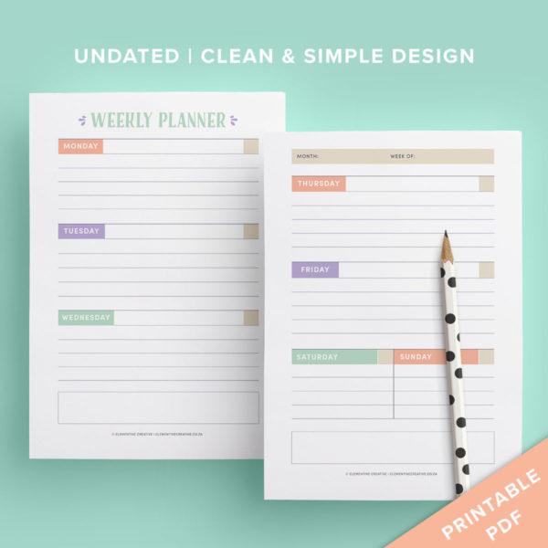 printable weekly planner spread