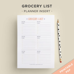 printable grocery list planner insert
