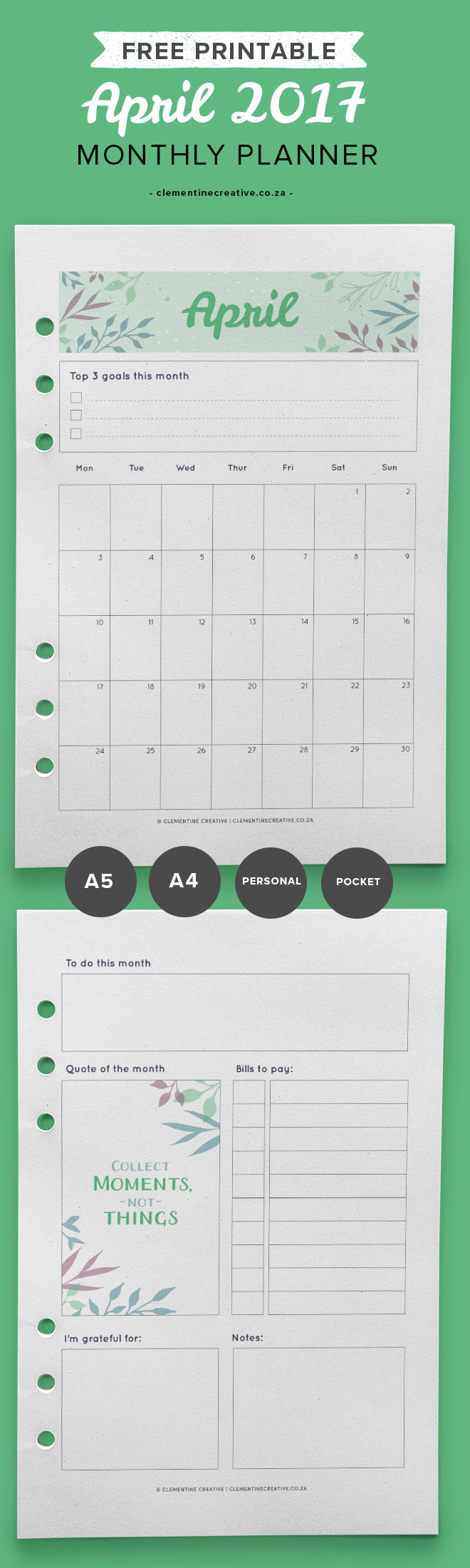 april 2017 free printable monthly planner clementine creative
