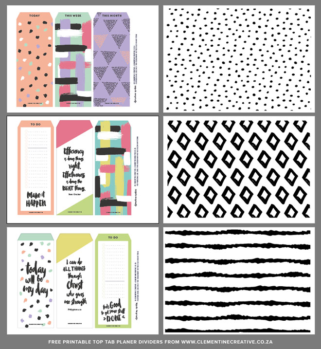Free printable top tab dividers for planners diaries and for Planner co
