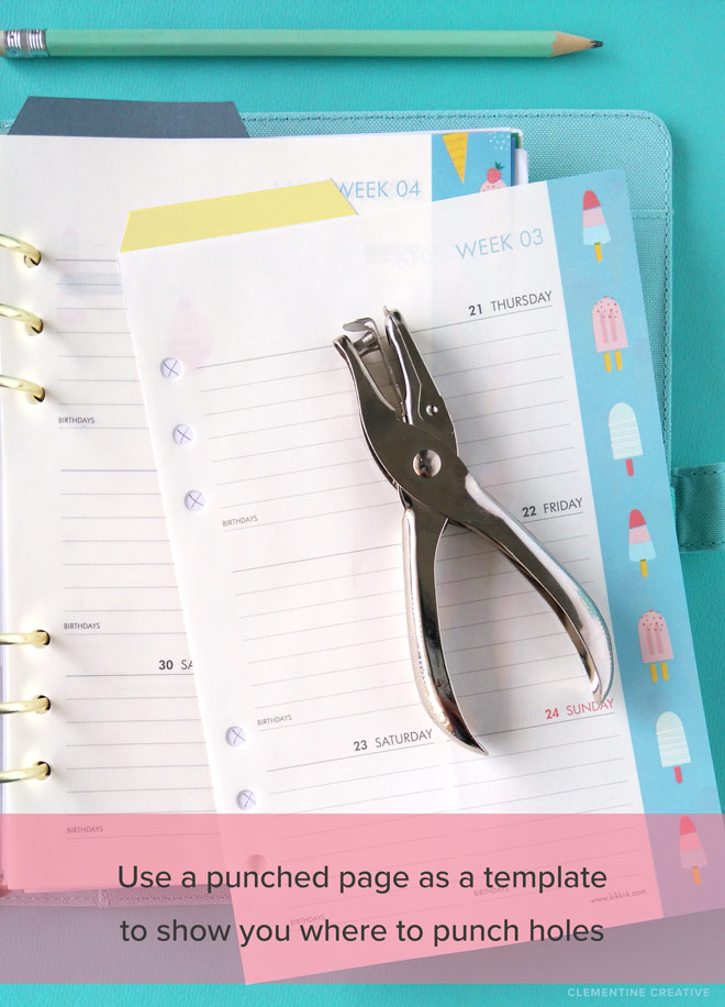 how to punch holes in planner inserts