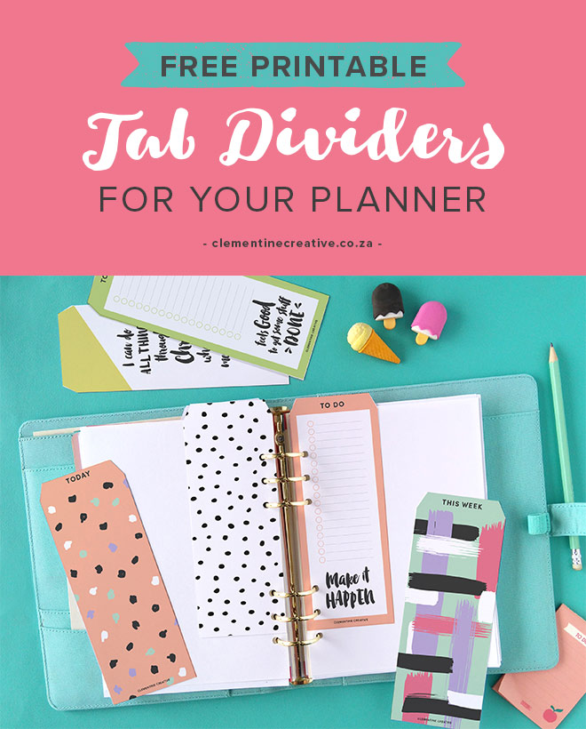 Free Printable Top Tab Dividers for Planners, Diaries and ...