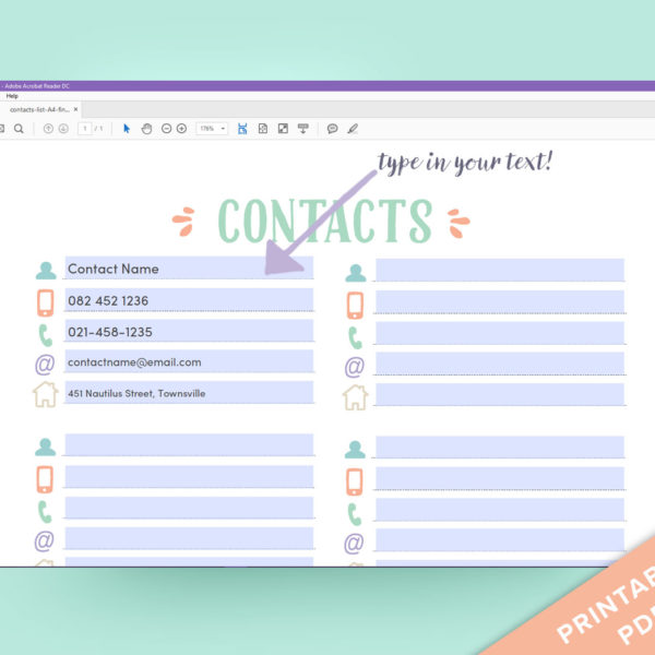 printable contact list with fillable form fields