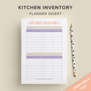 printable kitchen inventory page insert