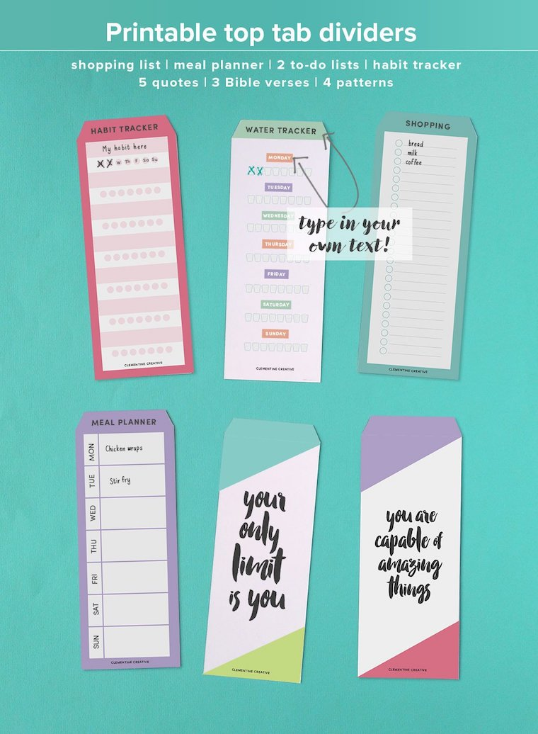 printable top tab dividers for your planner