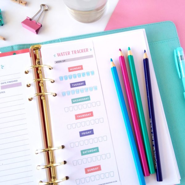 printable water drinking tracker for your planner