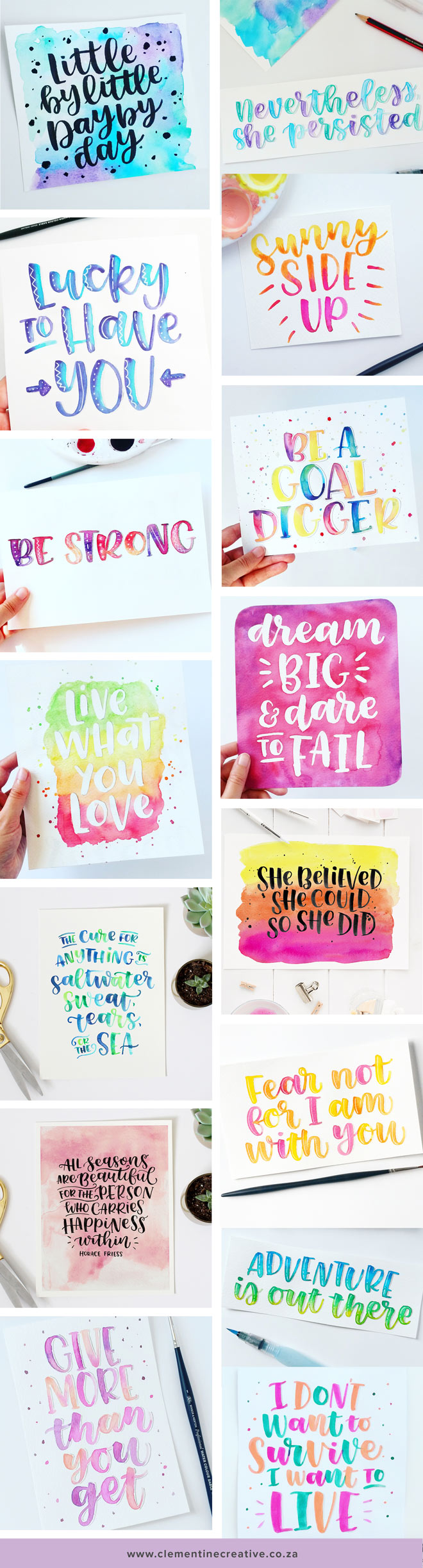 Watercolour brush lettering by Carmia Cronje on Instagram @carmia.cronje