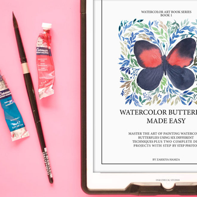 Learn how to paint watercolor butterflies step-by-step with this fantastic e-book. Six different techniques are explained in detail and 2 DIY projects are also included. Check it out here!