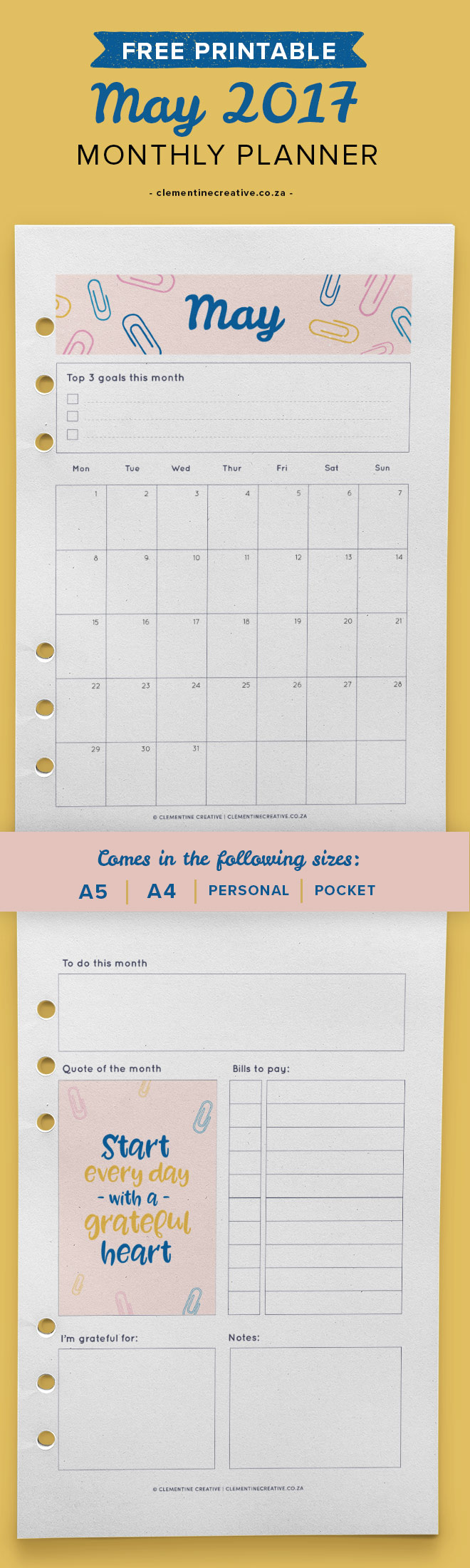 May 2017 Free Printable Monthly Planner - Clementine ...