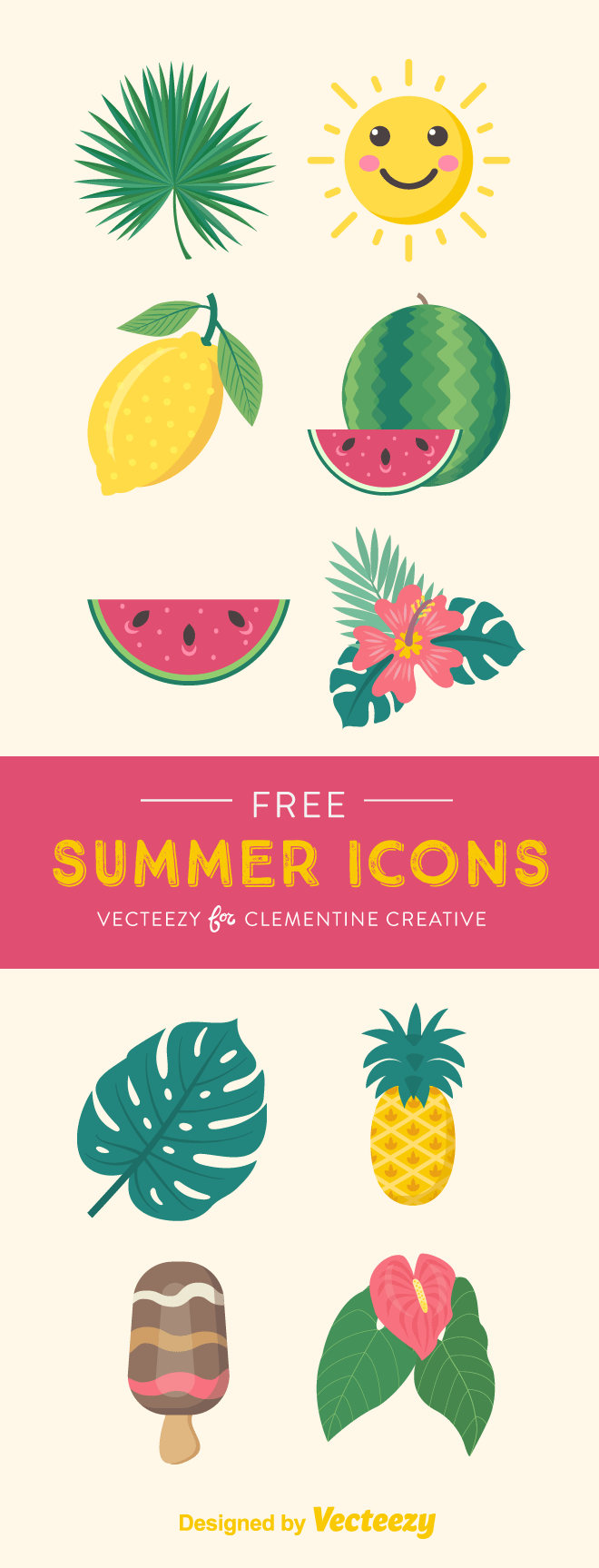 Free summer icons for your summer projects. Includes tropical leaves, lemon, watermelon, ice-cream, pineapple. Click here to download these icons as vectors and PNG.