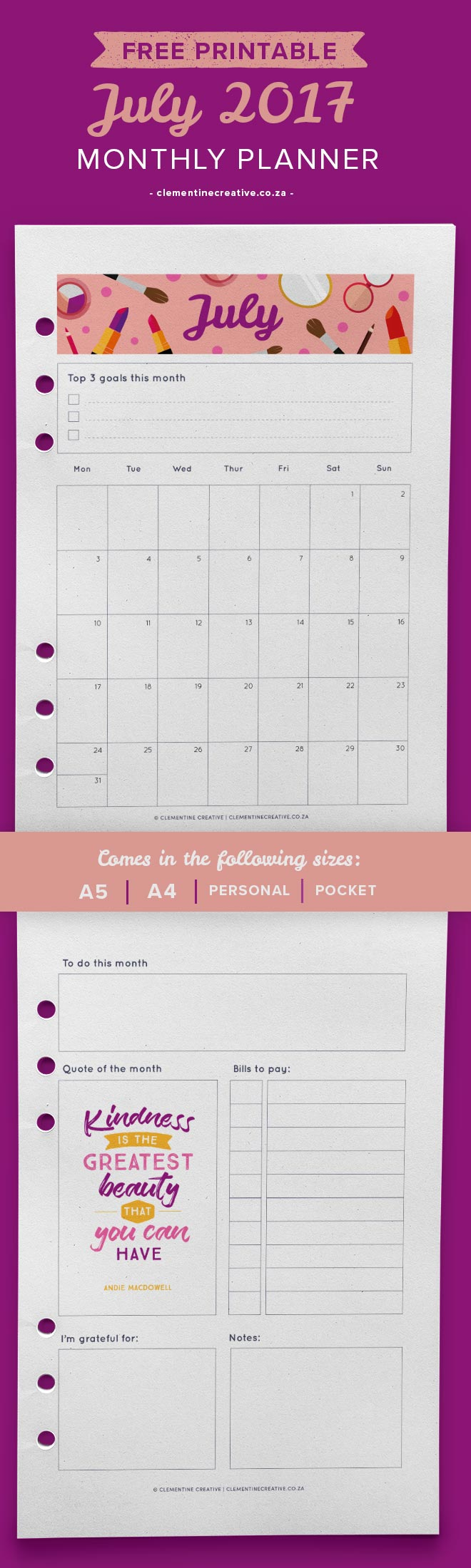 july 2017 free printable monthly planner - clementine creative