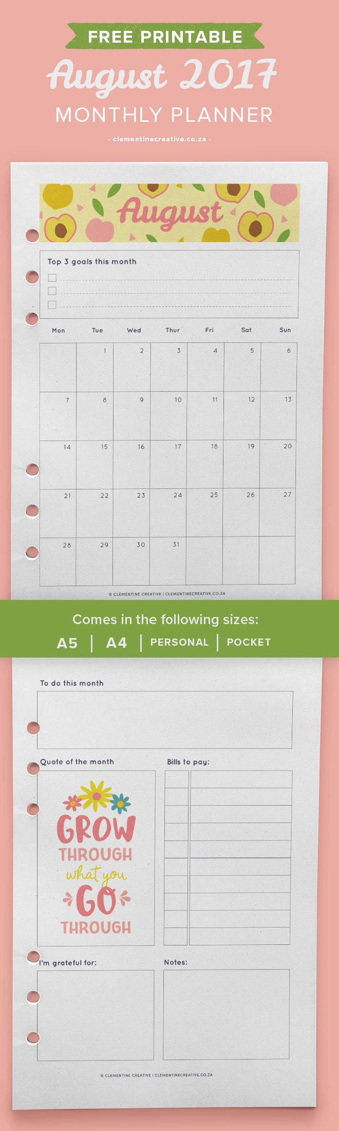 Download this free August 2017 monthly planner template here to plan your month. Choose from A4, A5, Pocket or Personal size. Write down your goals, projects, bills to pay and more.