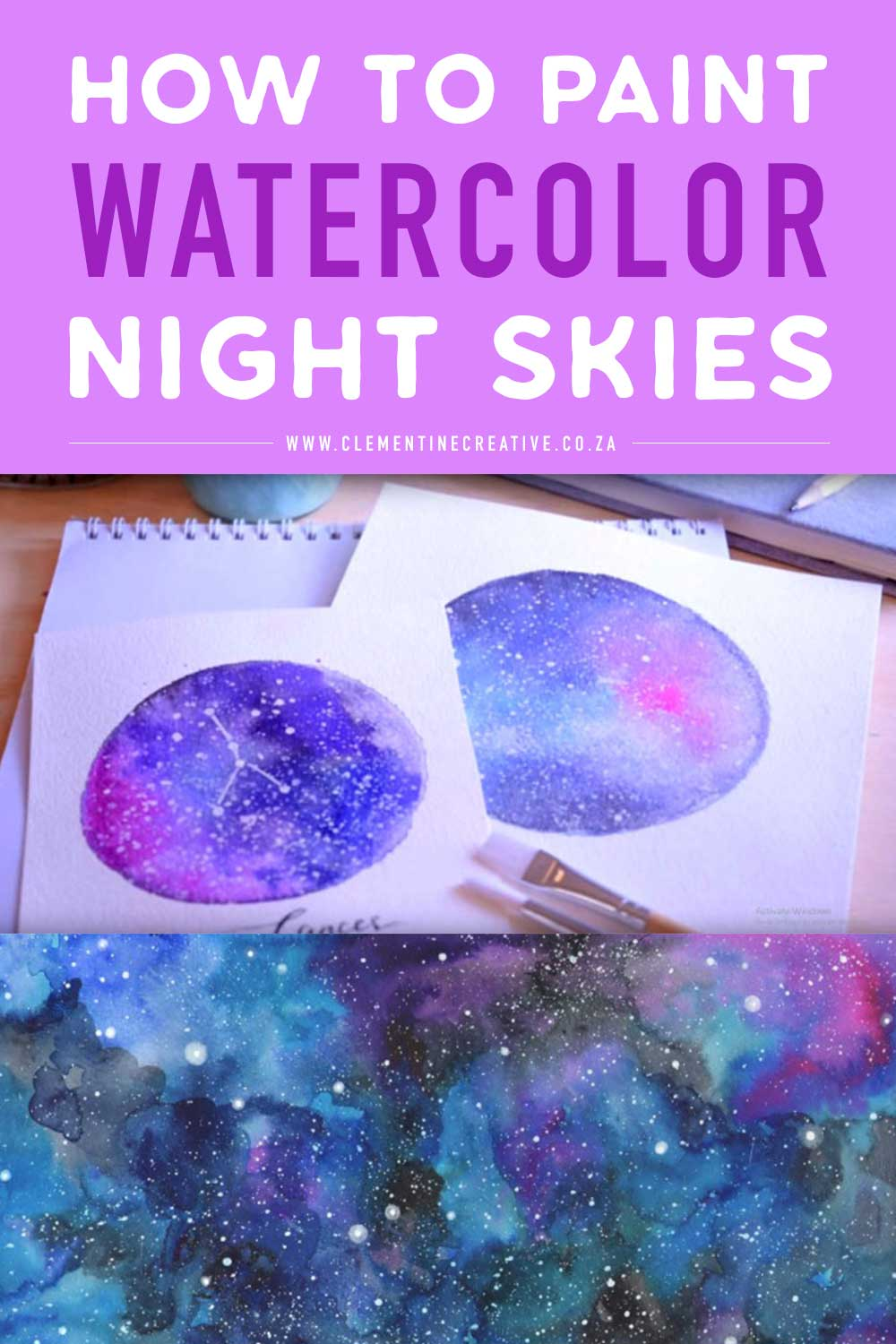 how to paint watercolor night skies and galaxies