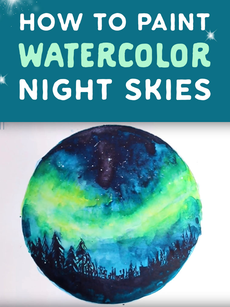 how to paint watercolor night skies