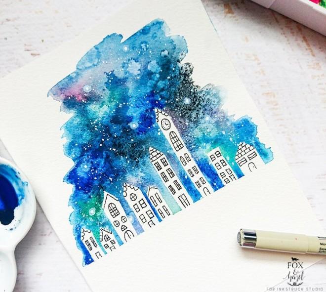 watercolour galaxy cityscape tutorial