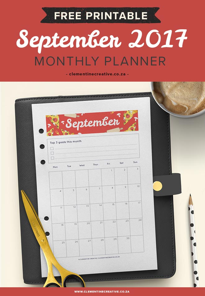September 2017 Free Printable Monthly Planner - Clementine