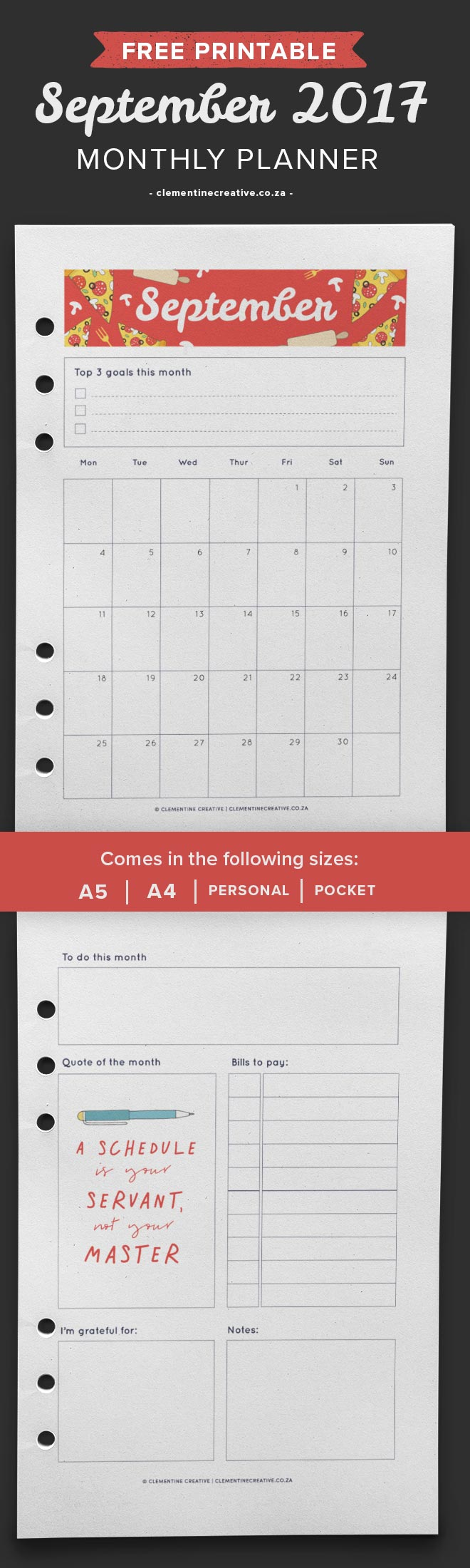 Download this free September 2017 monthly planner template here to plan your month. Choose from A4, A5, Pocket or Personal size. Write down your goals, projects, bills to pay and more.