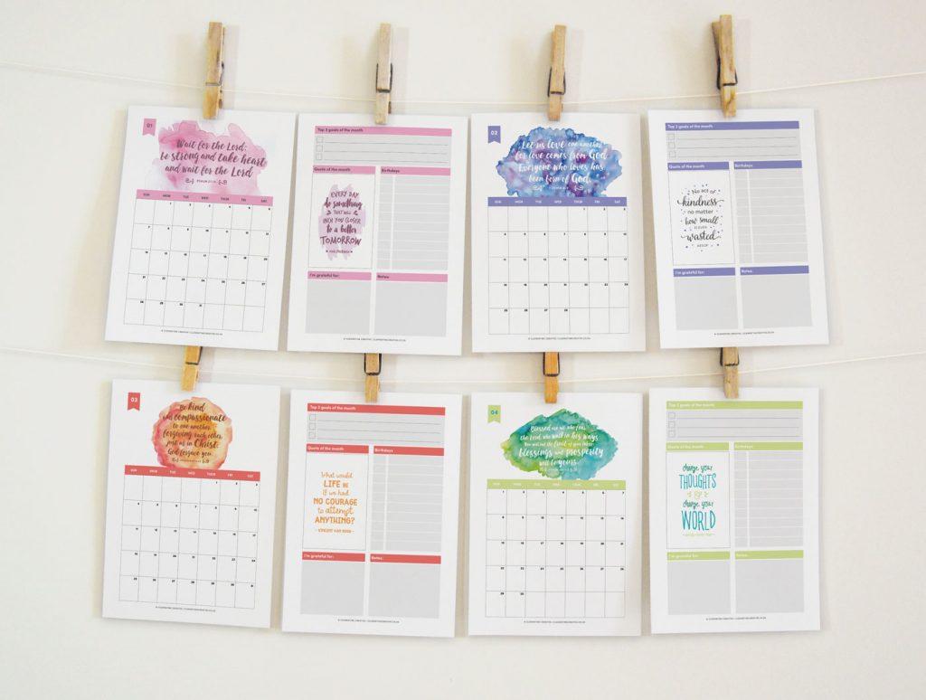 Bible verse printable 2018 calendar