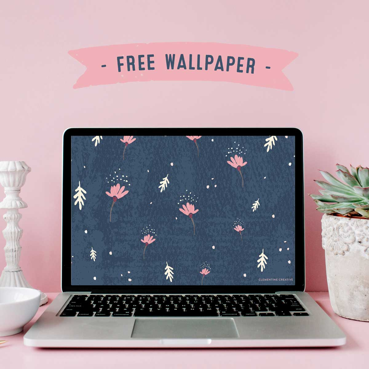 free dainty floral navy wallpaper