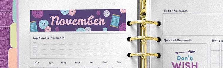 Free Printable November 2017 Monthly Planner