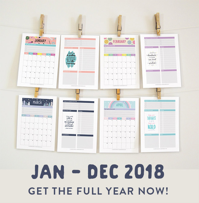 printable 2018 monthly planners in cute options