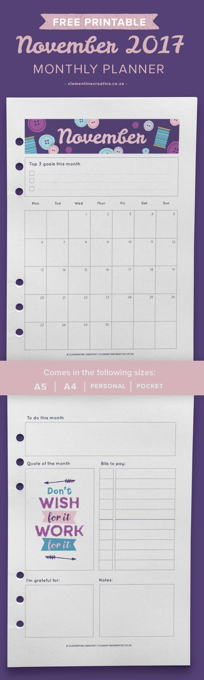 Free printable November calendar and monthly planner. Available in A4, A5, Personal and Pocket sizes. Get yours by signing up!