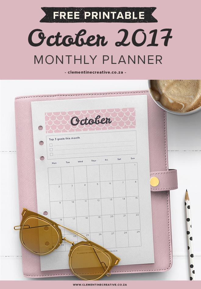 Free printable October calendar and monthly planner. Available in A4, A5, Personal and Pocket sizes. Get yours by signing up!