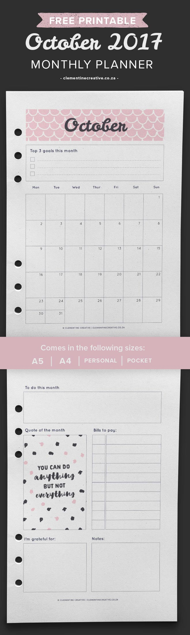 Free printable October 2017 calendar and monthly planner. Available in A4, A5, Personal and Pocket sizes. Get yours by signing up!