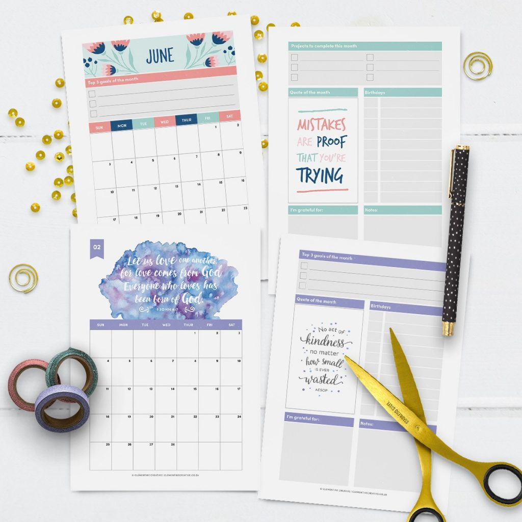 printable 2018 monthly calendars
