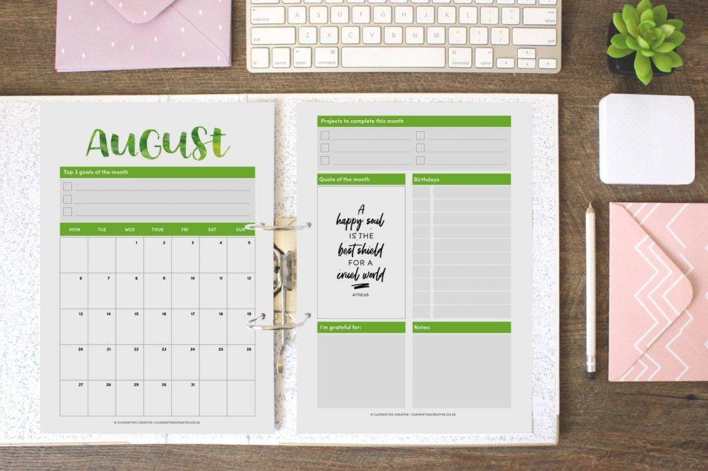 printable 2018 calendar with hand lettering