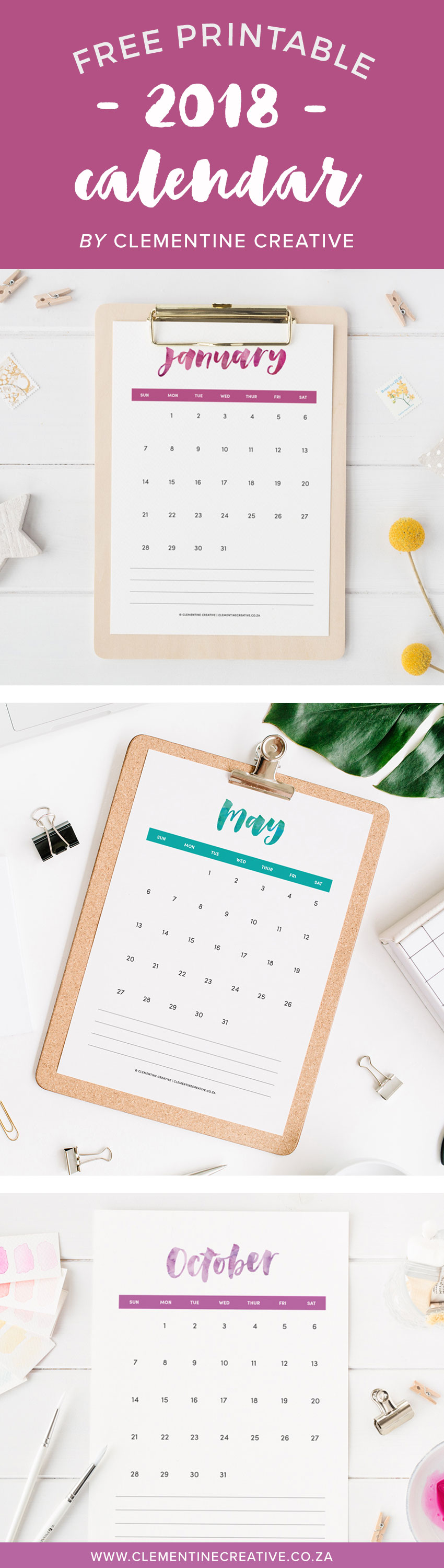 Download a free printable 2018 calendar that was lettered by hand! Put it in a clipboard and display it on your desk or give away as a gift. Click here to download.