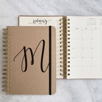 personalised kraft weekly planner