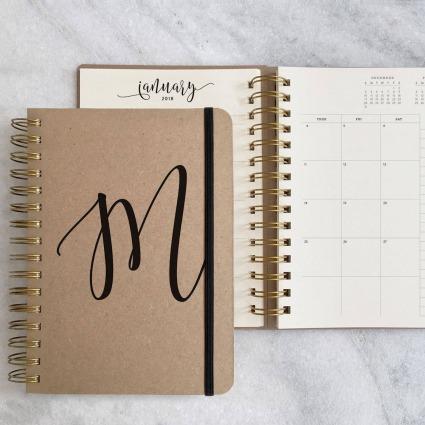 personalised kraft weekly planner