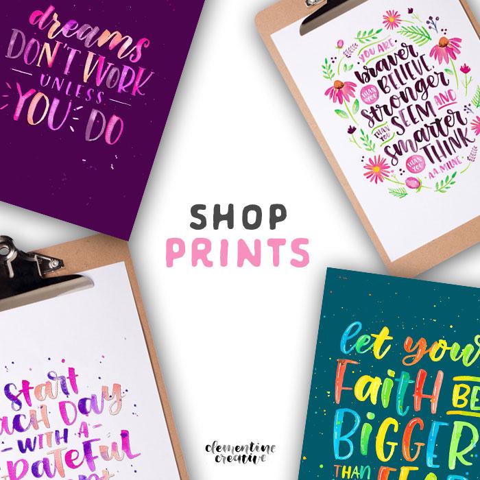 shop hand lettered prints