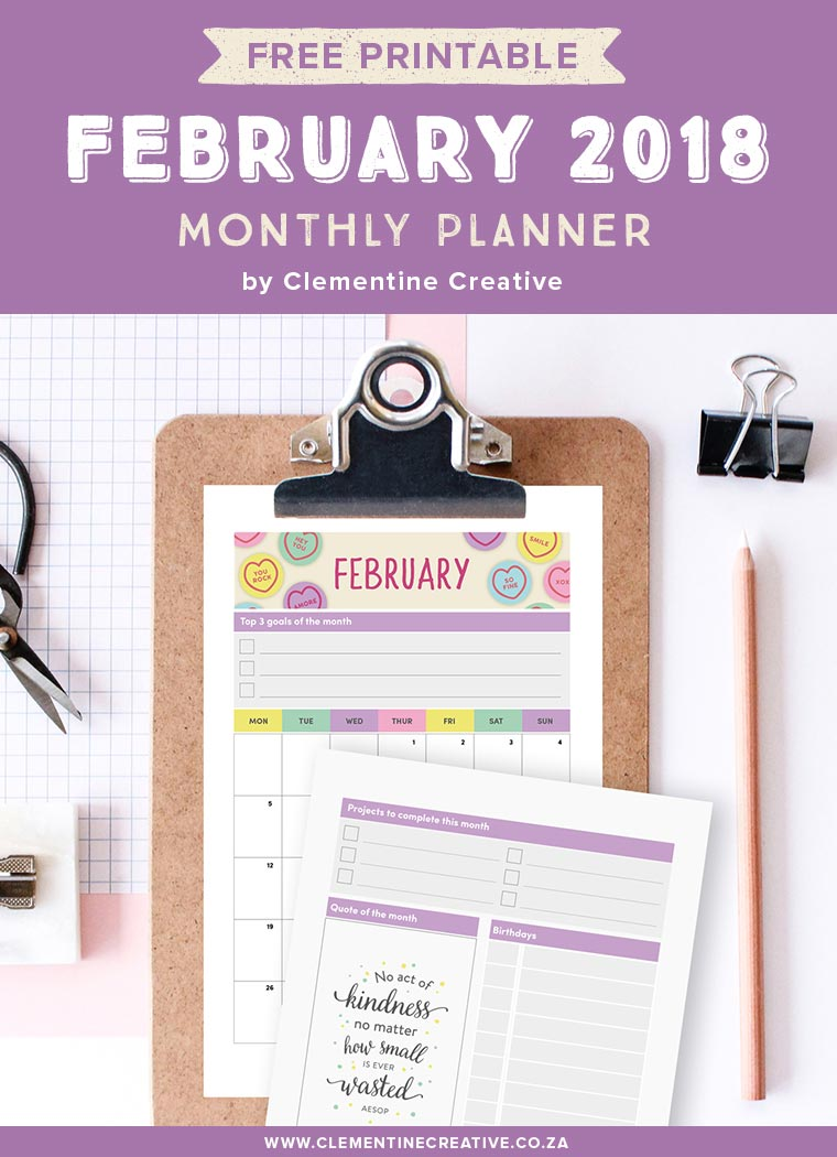 Free printable February 2018 calendar and monthly planner. Available in A4, A5, Personal and Pocket sizes. Get yours by signing up!