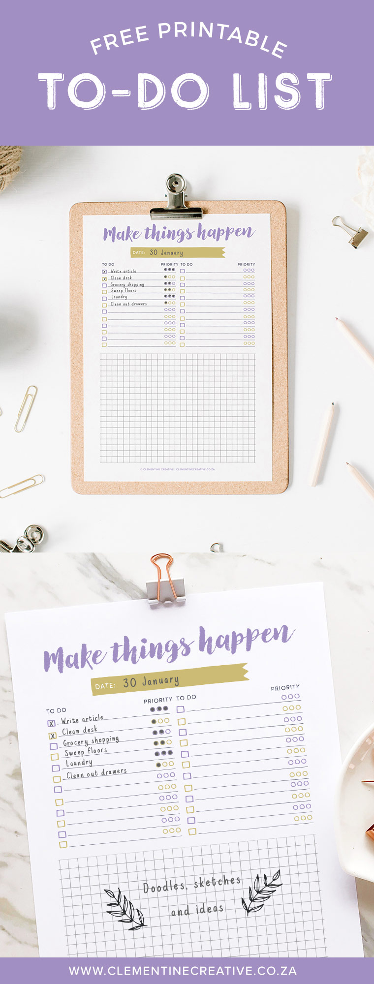 Download this free printable to-do list here to help you prioritize your daily tasks. It even includes a nice large area to write down ideas, sketches and doodles.
