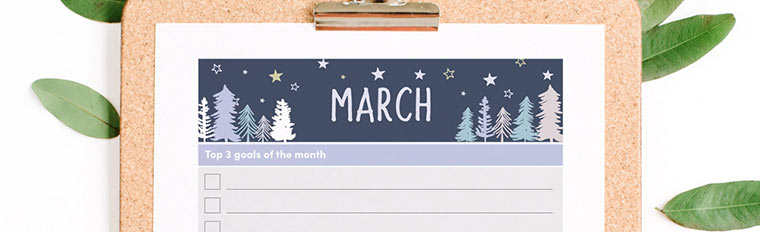 March 2018 {Free Printable Monthly Planner}