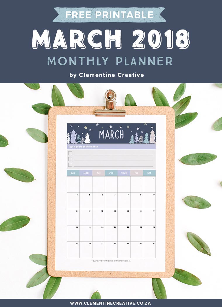 Free printable March 2018 calendar and monthly planner. Available in A4, A5, Personal and Pocket sizes. Get yours by signing up!
